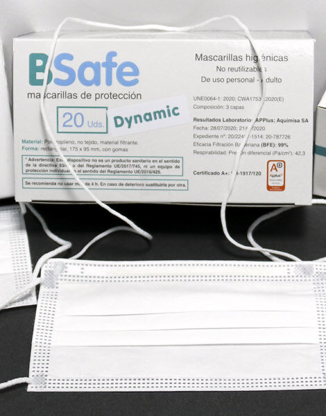 caja 20 unidades mascarilla BSafe Dynamic con cuerda