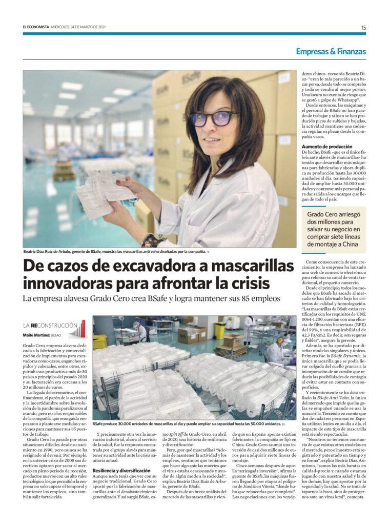 BSafe MASCARILLAS EN DIARIO EL ECONOMISTA